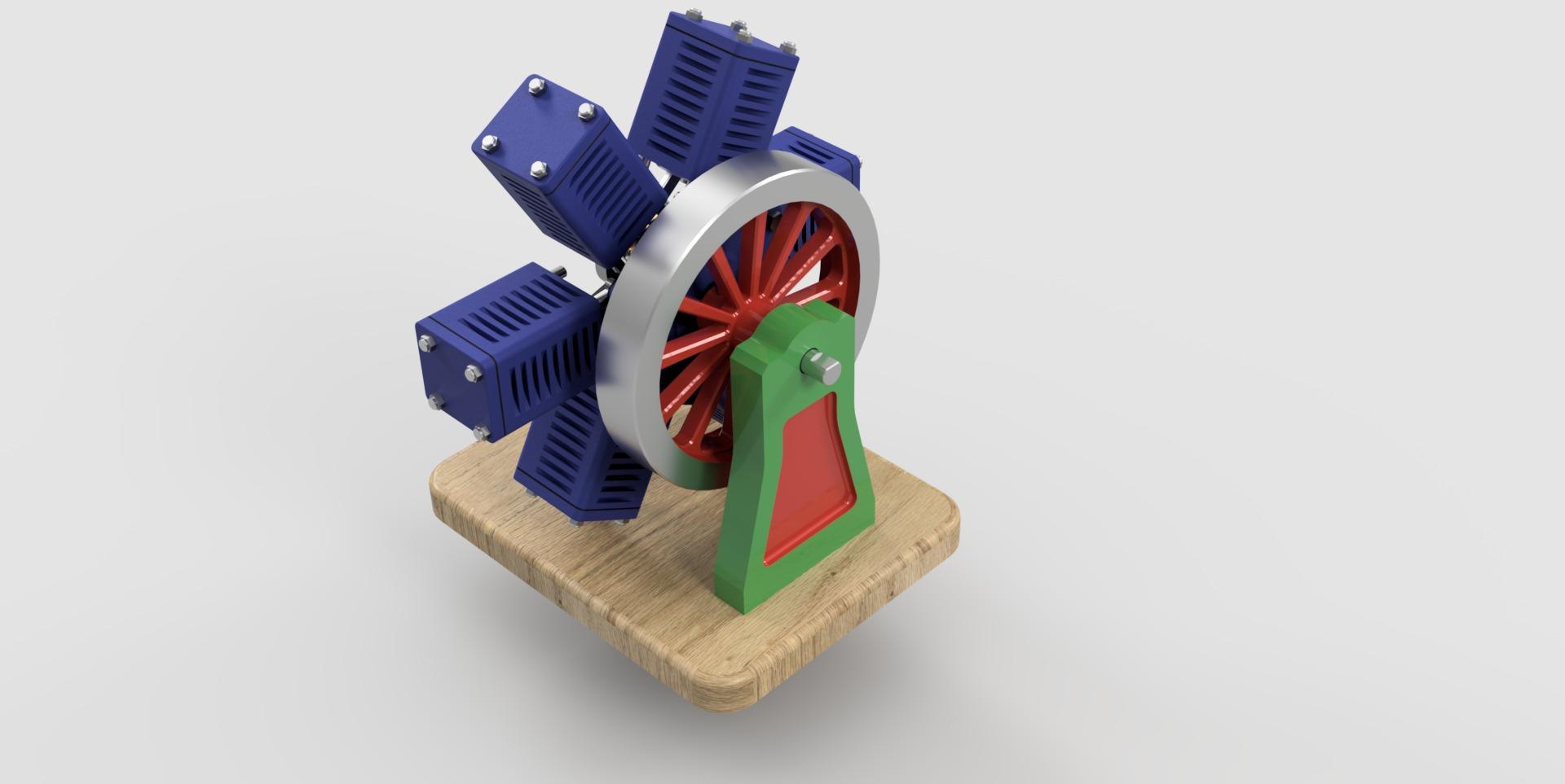 Pneumatic 6 Cylinder Radial Engine Autodesk Online Gallery